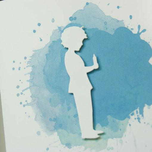 """Gotteslob Hülle """"Junge mit Kerze"""" Aquarell blau"""