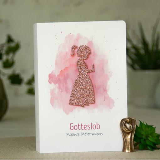 """Gotteslob Hülle """"Mädchen mit Kerze"""" Glitzer pink"""