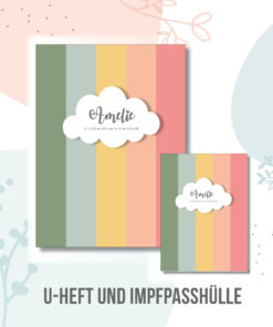 U hefthülle mit Regenbogen Streifen personalisiert mit Namen und Geburtsdaten