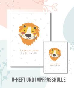 U hefthülle Löwe personalisiert mit Namen und Geburtsdaten