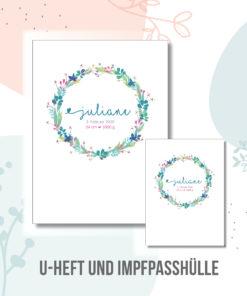 U hefthülle Blütenkranz personalisiert mit Namen und Geburtsdaten