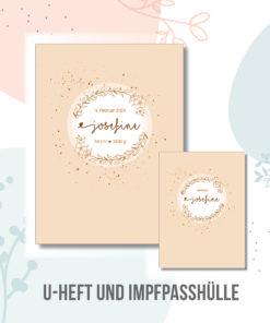U hefthülle Kranz Blumen rosa personalisiert mit Namen und Geburtsdaten