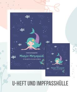 U hefthülle Meerjungfrau Nixe personalisiert mit Namen und Geburtsdaten